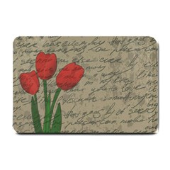 Vintage Tulips Small Doormat  by Valentinaart
