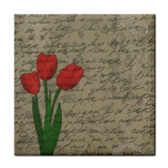 Vintage Tulips Face Towel by Valentinaart