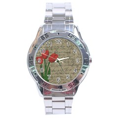 Vintage Tulips Stainless Steel Analogue Watch by Valentinaart