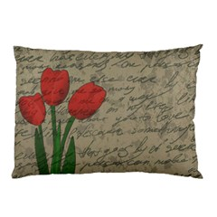 Vintage Tulips Pillow Case (two Sides) by Valentinaart