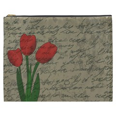 Vintage Tulips Cosmetic Bag (xxxl)  by Valentinaart