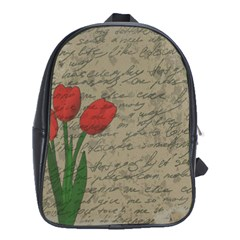 Vintage Tulips School Bags (xl)  by Valentinaart