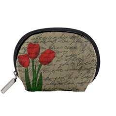 Vintage Tulips Accessory Pouches (small)  by Valentinaart