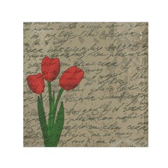 Vintage Tulips Small Satin Scarf (square) by Valentinaart