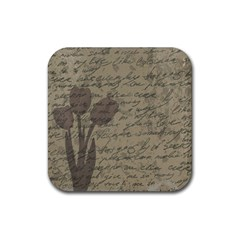 Vintage Tulips Rubber Square Coaster (4 Pack)  by Valentinaart