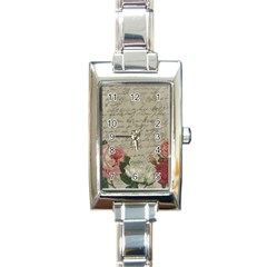 Vintage Roses Rectangle Italian Charm Watch by Valentinaart