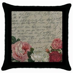 Vintage Roses Throw Pillow Case (black) by Valentinaart