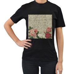 Vintage Roses Women s T-shirt (black) by Valentinaart
