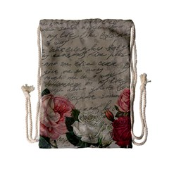 Vintage Roses Drawstring Bag (small) by Valentinaart