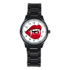 Mouth Jaw Teeth Vampire Blood Stainless Steel Round Watch