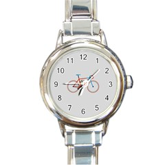 Bicycle Sports Drawing Minimalism Round Italian Charm Watch by Simbadda