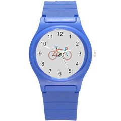 Bicycle Sports Drawing Minimalism Round Plastic Sport Watch (s) by Simbadda