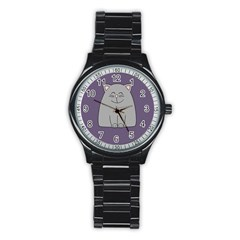 Cat Minimalism Art Vector Stainless Steel Round Watch by Simbadda