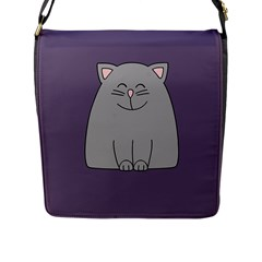 Cat Minimalism Art Vector Flap Messenger Bag (l)