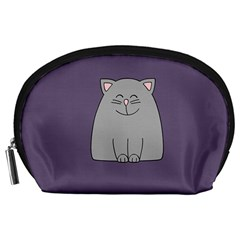 Cat Minimalism Art Vector Accessory Pouches (large)  by Simbadda