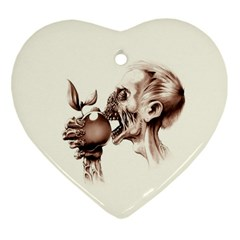 Zombie Apple Bite Minimalism Heart Ornament (two Sides) by Simbadda