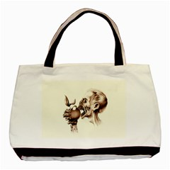Zombie Apple Bite Minimalism Basic Tote Bag (two Sides)