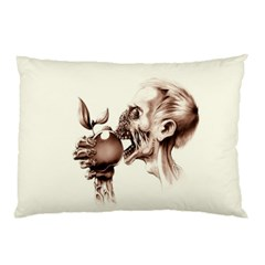 Zombie Apple Bite Minimalism Pillow Case (two Sides) by Simbadda