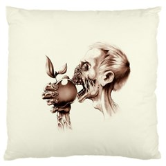 Zombie Apple Bite Minimalism Large Cushion Case (two Sides) by Simbadda
