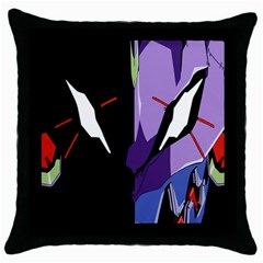 Monster Face Drawing Paint Throw Pillow Case (black) by Simbadda