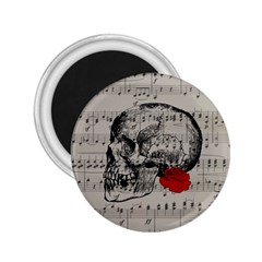 Skull And Rose  2 25  Magnets by Valentinaart