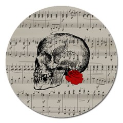 Skull And Rose  Magnet 5  (round) by Valentinaart
