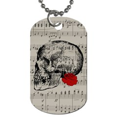 Skull And Rose  Dog Tag (two Sides) by Valentinaart