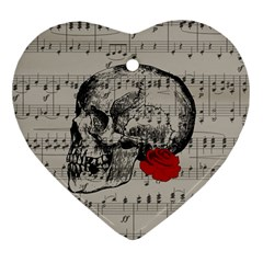 Skull And Rose  Heart Ornament (two Sides) by Valentinaart