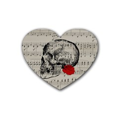 Skull And Rose  Rubber Coaster (heart)  by Valentinaart