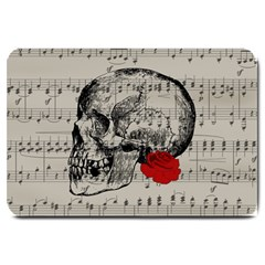 Skull And Rose  Large Doormat  by Valentinaart