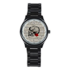 Skull And Rose  Stainless Steel Round Watch by Valentinaart