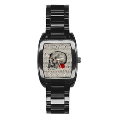 Skull And Rose  Stainless Steel Barrel Watch by Valentinaart