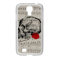 Skull And Rose  Samsung Galaxy S4 I9500/ I9505 Case (white) by Valentinaart