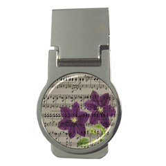 Vintage Purple Flowers Money Clips (round)  by Valentinaart