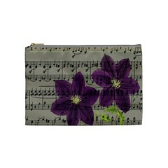 Vintage Purple Flowers Cosmetic Bag (medium)  by Valentinaart