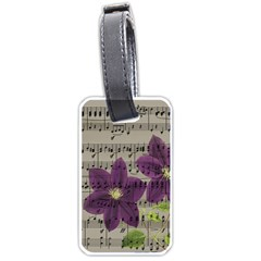 Vintage Purple Flowers Luggage Tags (one Side)  by Valentinaart