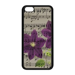 Vintage Purple Flowers Apple Iphone 5c Seamless Case (black) by Valentinaart