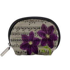 Vintage Purple Flowers Accessory Pouches (small)  by Valentinaart