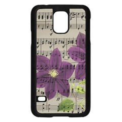 Vintage Purple Flowers Samsung Galaxy S5 Case (black) by Valentinaart