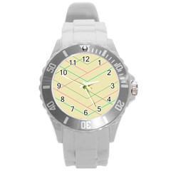 Abstract Yellow Geometric Line Pattern Round Plastic Sport Watch (l)