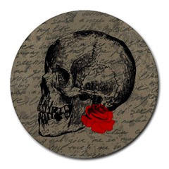 Skull And Rose  Round Mousepads by Valentinaart