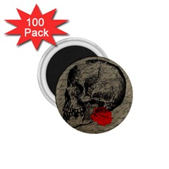 Skull And Rose  1 75  Magnets (100 Pack)  by Valentinaart