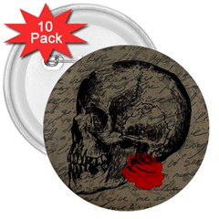 Skull And Rose  3  Buttons (10 Pack)  by Valentinaart
