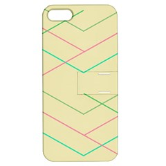Abstract Yellow Geometric Line Pattern Apple Iphone 5 Hardshell Case With Stand by Simbadda