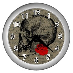 Skull And Rose  Wall Clocks (silver)  by Valentinaart