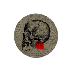 Skull And Rose  Magnet 3  (round) by Valentinaart