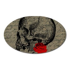 Skull And Rose  Oval Magnet by Valentinaart