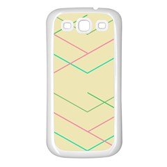Abstract Yellow Geometric Line Pattern Samsung Galaxy S3 Back Case (white) by Simbadda