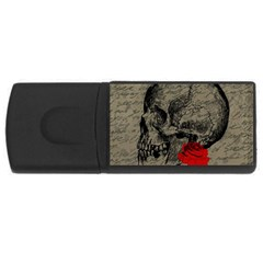 Skull And Rose  Usb Flash Drive Rectangular (4 Gb) by Valentinaart