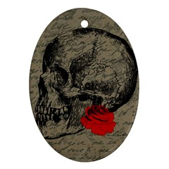 Skull And Rose  Oval Ornament (two Sides) by Valentinaart